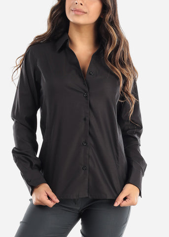 Image of Black Wrinkle-Free Printed Button Down Shirt