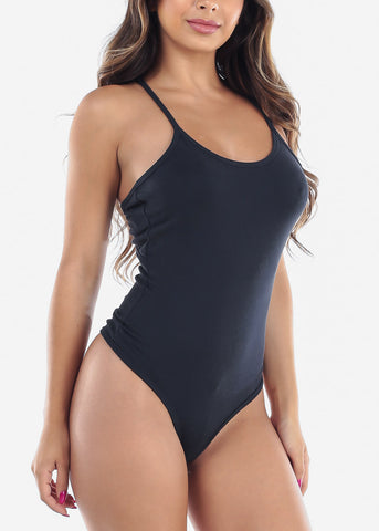 Image of Women's Junior Casual Going Out Sexy Spaghetti Strap Back Crisscross Navy Ribbed Bodysuit at a discounted prices