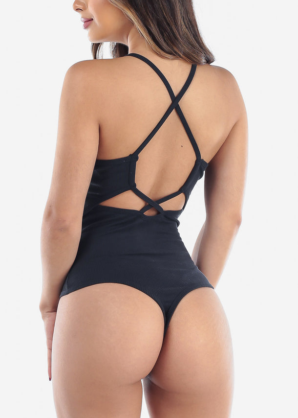 Women's Junior Casual Going Out Sexy Spaghetti Strap Back Crisscross Navy Ribbed Bodysuit at a discounted prices