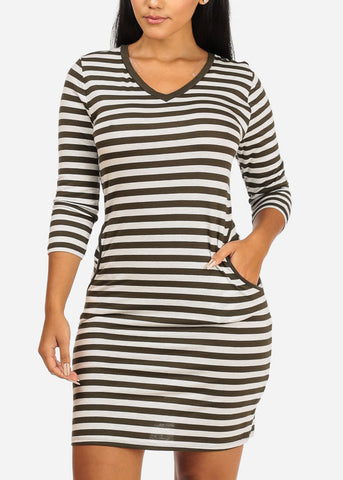 Casual Olive Comfy Stripes Dress