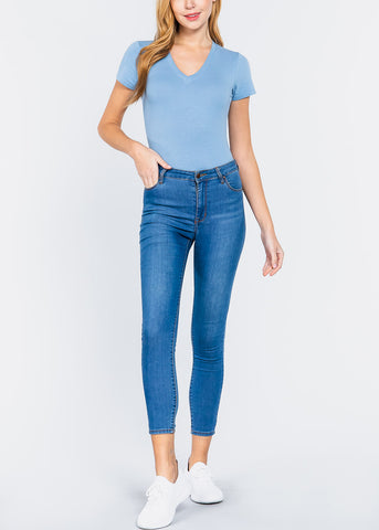 Image of V-Neck Blue Bodysuit