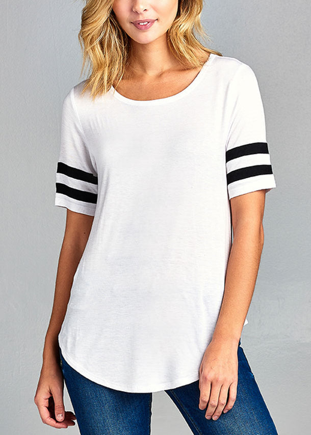 Essential Casual Short Stripe Trim Sleeve Stretchy White Top