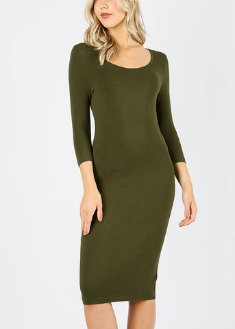 Olive Bodycon Midi Dress