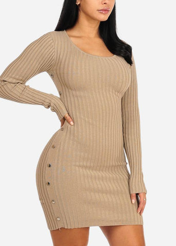 Image of Khaki Silver Button Knitted Dress