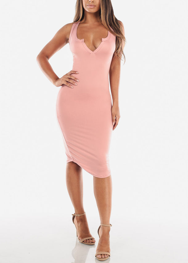 Mauve Bodycon Midi Dress