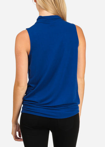 Stylish High Neck Sleeveless Royal Blue Bubble Blouse Top