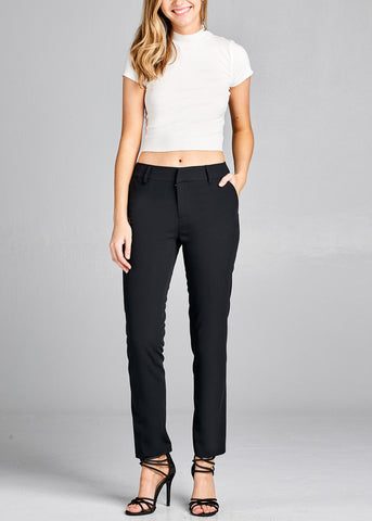 Black Straight Leg Dress Pants