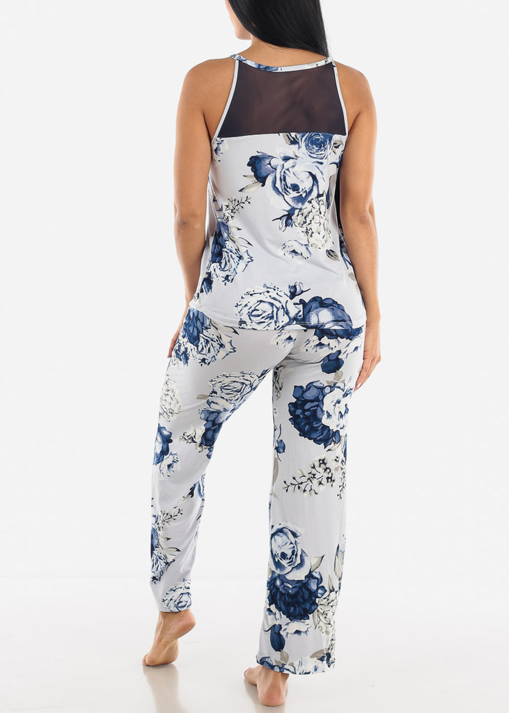 Blue Floral Print Top & Pants