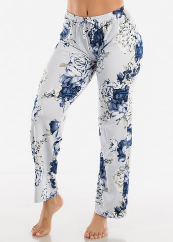 Image of Blue Floral Print Top & Pants