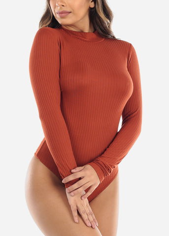 Image of Brick Mock Neck Long Sleeve Bodysuit