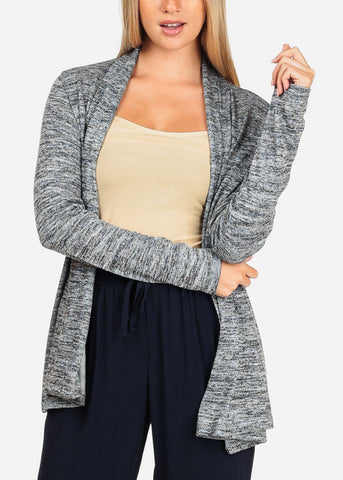 Image of Women's Junior Casual Going Out Comfy Heather Print Open Front Long Sleeve Navy Cardigan