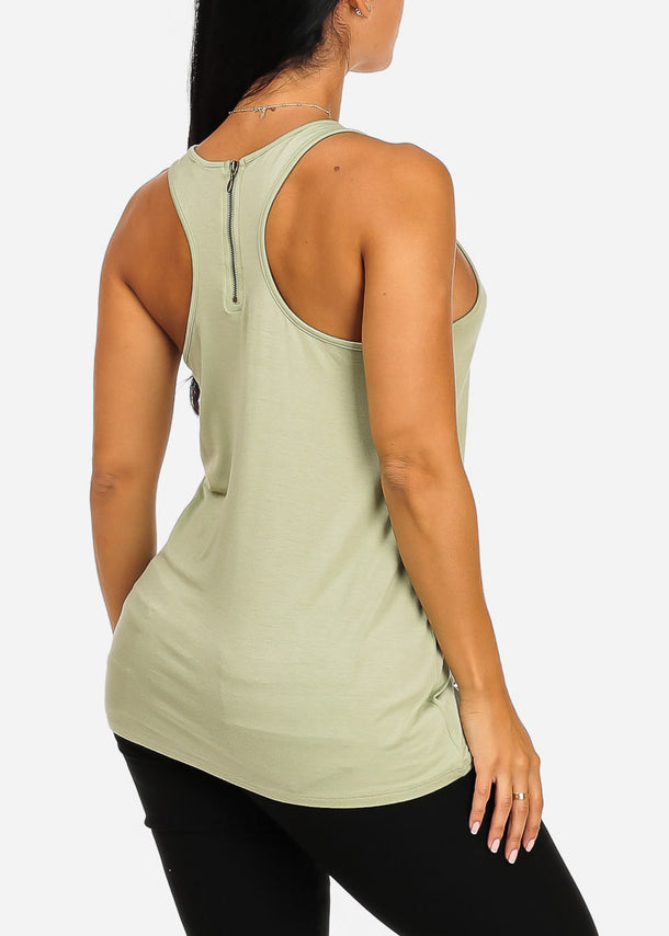 Green Graphic Tank Top