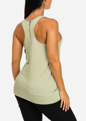 Sleeveless Light Green Stretchy Your Loss Babe Graphic Print Tank Top