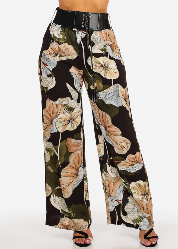 Ultra Elastic Floral Belt Pants