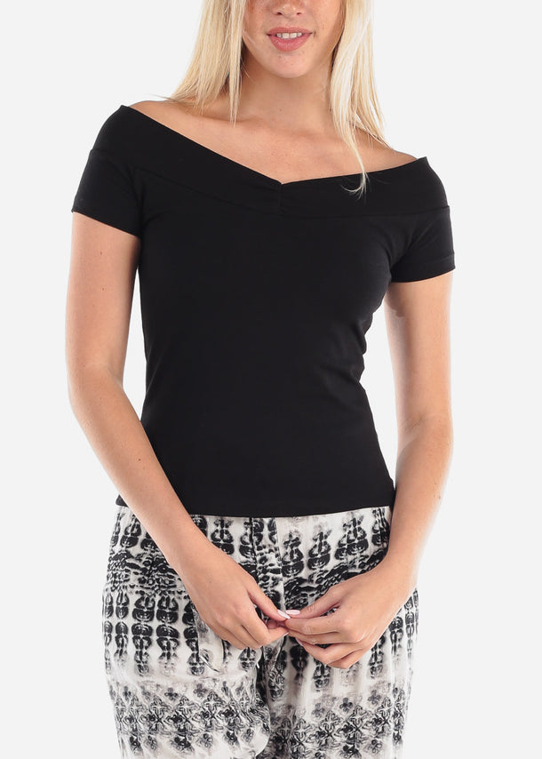 Women's Junior Ladies Casual Stylish Basic Trendy Short Sleeve Solid Black Top