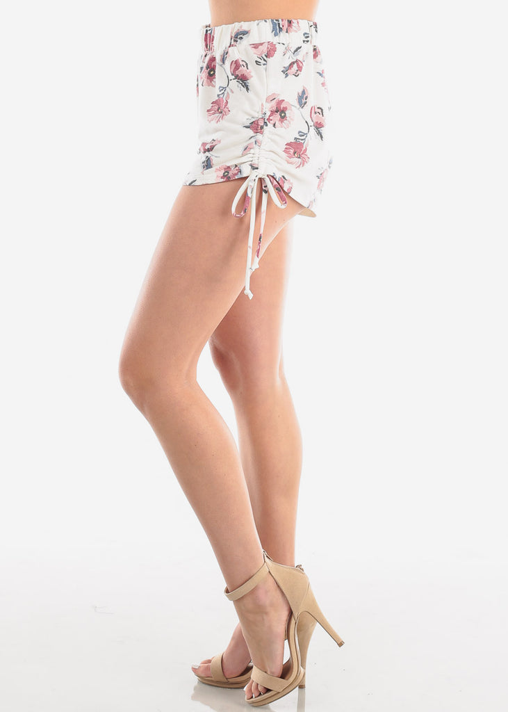 Women's Junior Ladies Cute Basic Must Have High Rise Side Ruched Side Tie White Floral Print Soft Stretchy Shorty Short Shorts