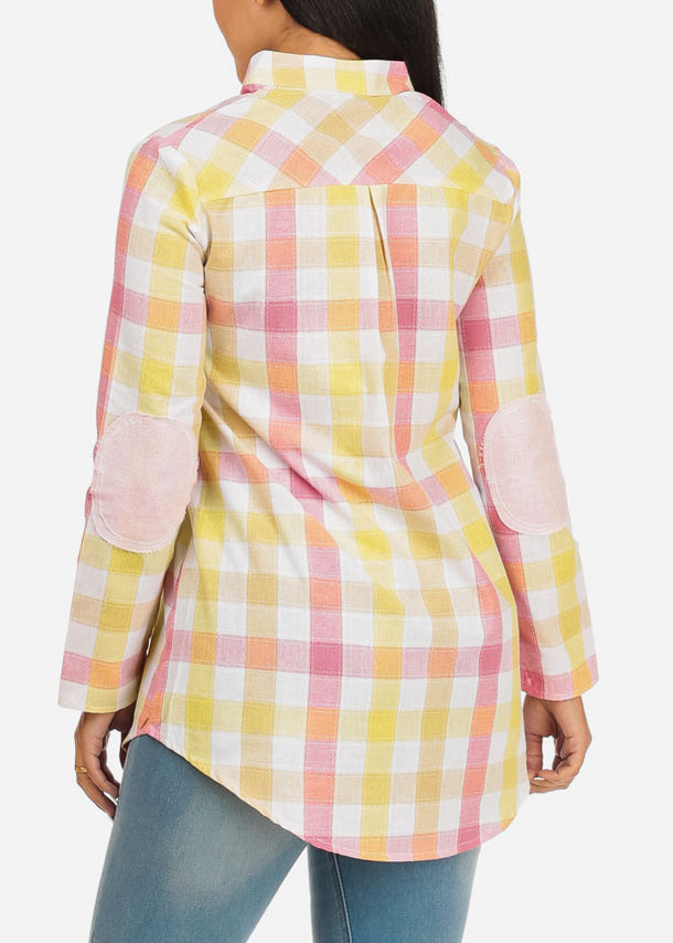 Patched  Long Sleeve Plaid Top