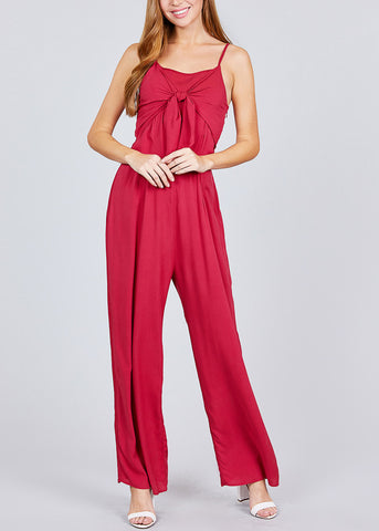 Front Knot Detail Red Jumpsuit
