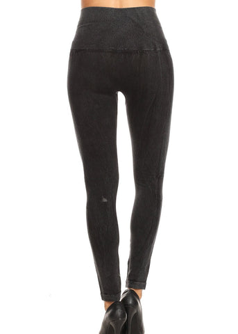 Faded High Rise Black Seamless Leggings