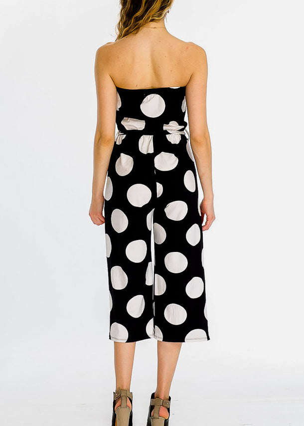 Strapless Polka Dot Black Cropped Jumpsuit