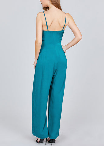 Image of Front Knot Detail Teal Jumpsuit