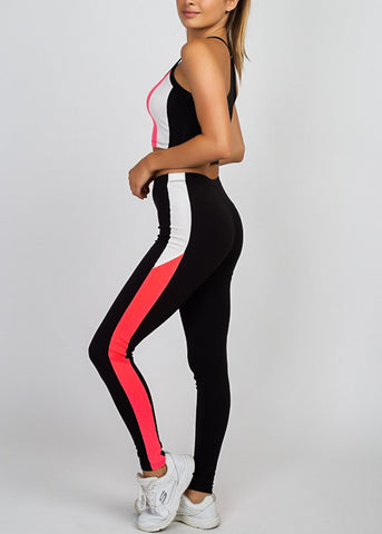Colorblock Neon Pink Crop Top & Leggings (2 PCE SET)