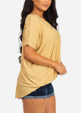 Image of Women's Junior Ladies Casual Going Out Must Have Wrap Front V Neckline High Low Mustard Top