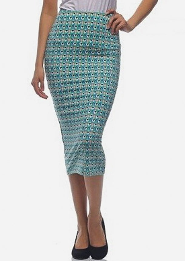 Printed Green Pencil Midi Skirt