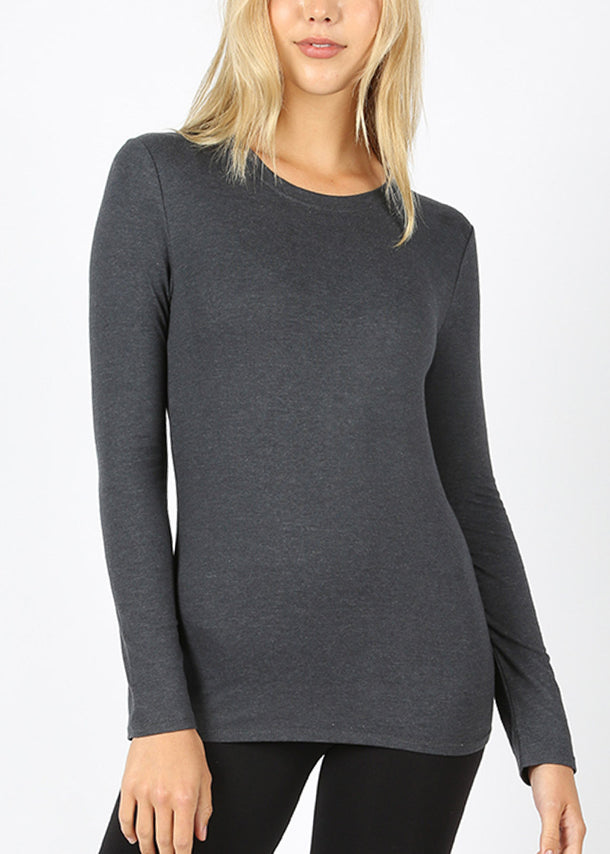 Basic Long Sleeve Charcoal Top