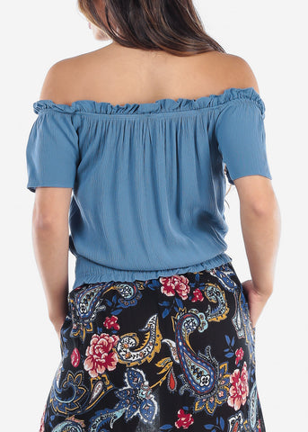 Cute Off Shoulder Blue Top