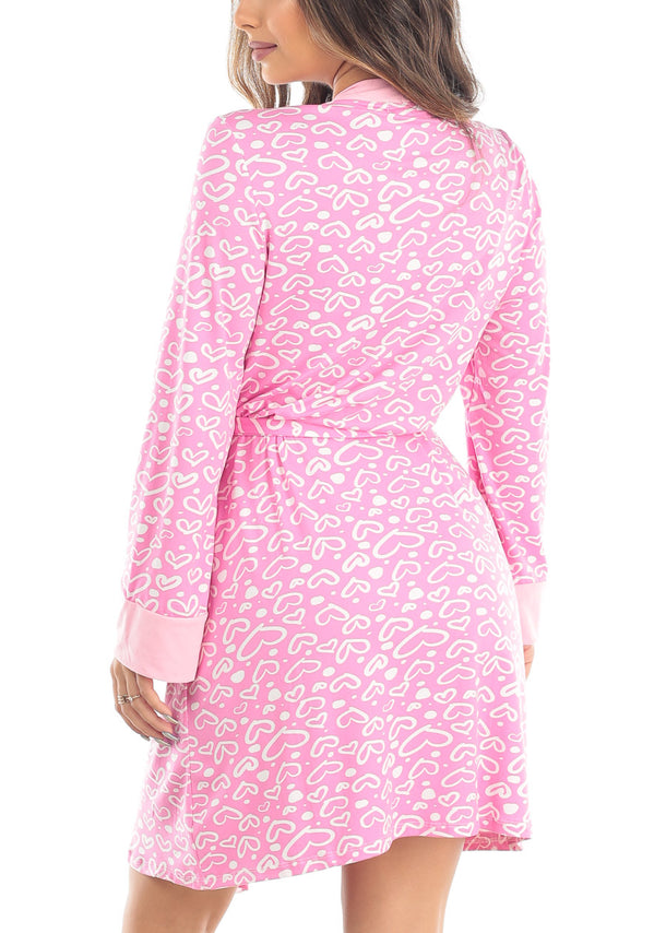 Heart Print Self Tie Pink Robe