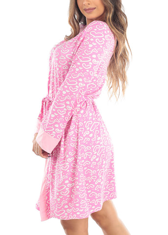 Long Sleeve Open Front Tie Front Pink Heart Print Sleepwear Robe