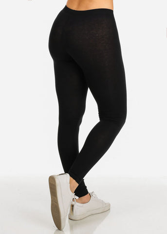 Image of Cotton Black Body Jersey Leggings