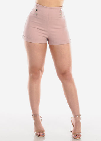 Image of High Waisted Mauve Stretchy Short Shorts For Women Ladies Junior Party Night Out Clubwear