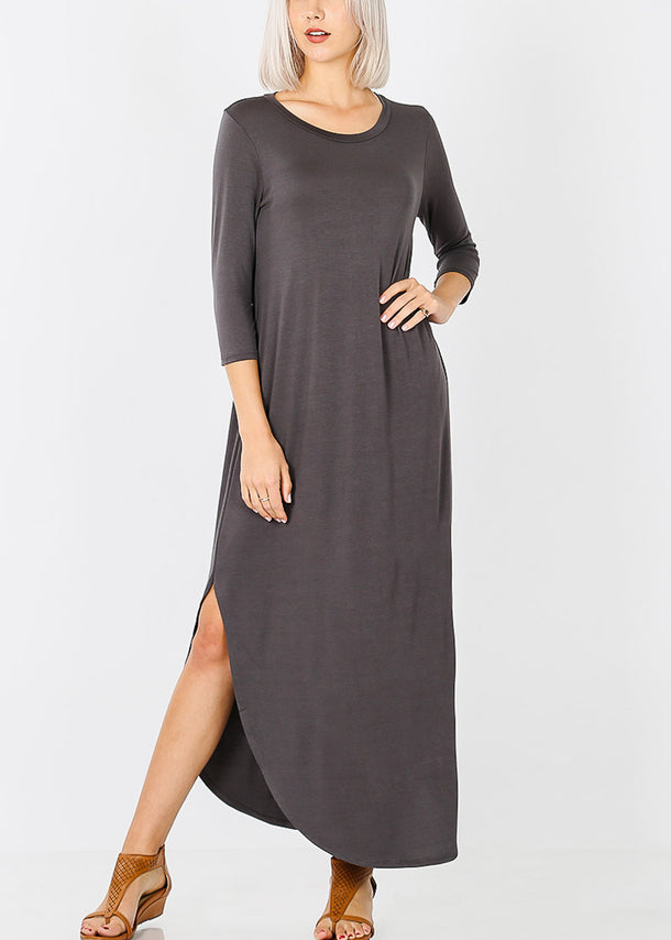 Ash Grey Round Hem Maxi Dress