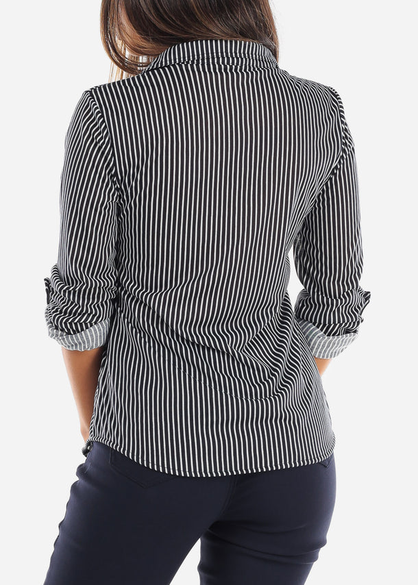 Stripe Navy Button Up Shirt