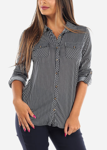 Image of Women's Junior ladies Navy Stripe Stylish Button Up Roll Up Sleeve Blouse Top For Office Business Career Wear On Sale Affordable Price