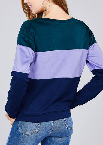 Image of Round Neckline Long Sleeve Multi Color Teal Stripe Pullover