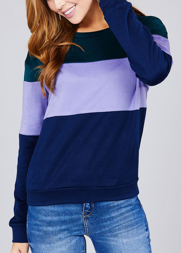 Round Neckline Long Sleeve Multi Color Teal Stripe Pullover