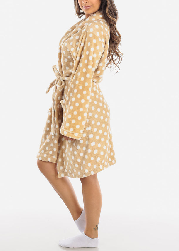 Khaki Polka Dot Fleece Robe