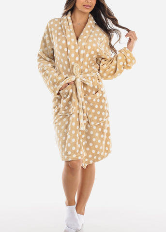 Image of Khaki Polka Dot Fleece Robe