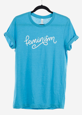 "Heather Blue Graphic Top ""Feminism"""