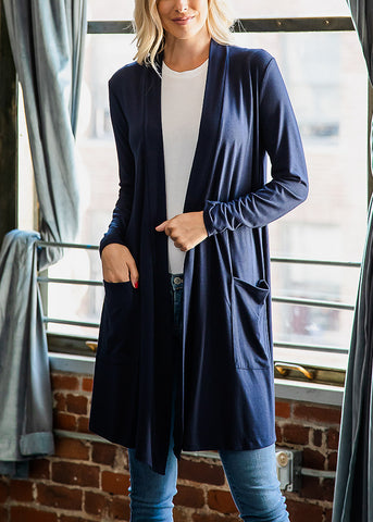 Navy Open Front Maxi Cardigan