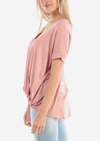 Women's Junior Ladies Casual Going Out Must Have Wrap Front V Neckline High Low Rose Top