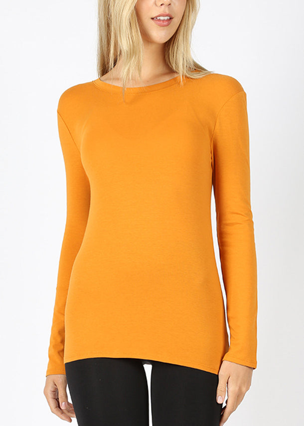 Basic Long Sleeve Mustard Top