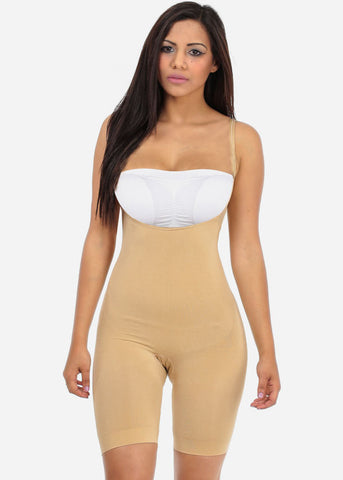 Image of Nude Full Body Shapewear Thigh Control Bodysuit