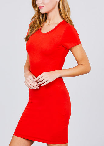 Image of Casual Red Bodycon Mini Dress