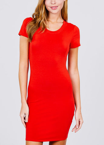 Casual Red Bodycon Mini Dress