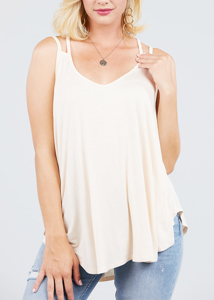 Double Strap Sleeveless Ivory Tunic Top