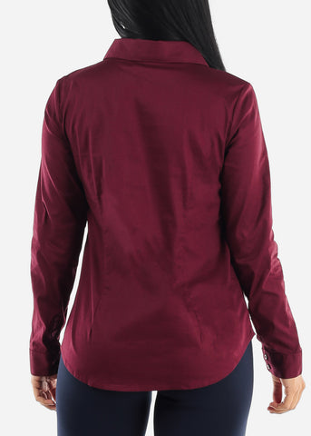 Image of Missy Fit Button Up Burgundy Shirt